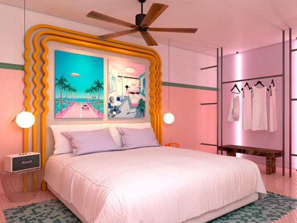 hotelkamer roze